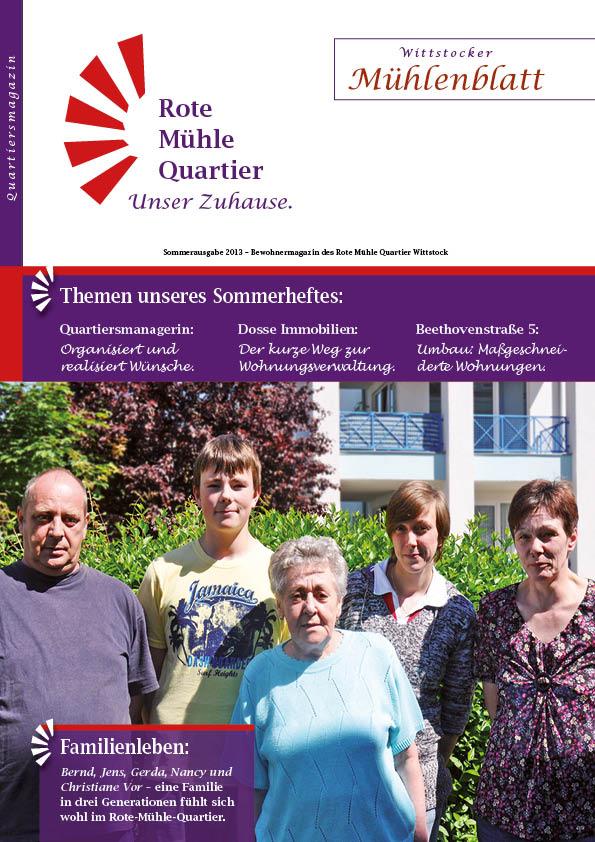 Sommerausgabe 2013 – Bewohnermagazin des Rote Mühle Quartier Wittstock