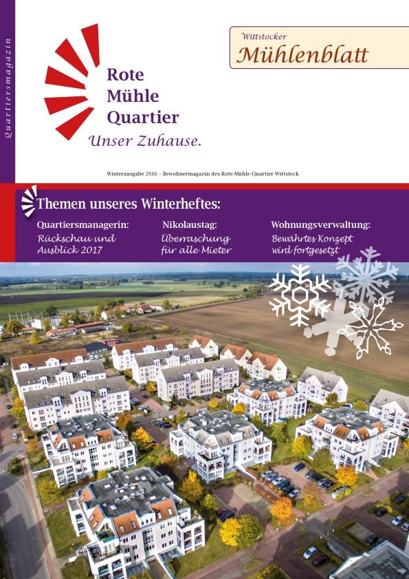 Winterausgabe 2016 – Bewohnermagazin des Rote-Mühle-Quartier Wittstock
