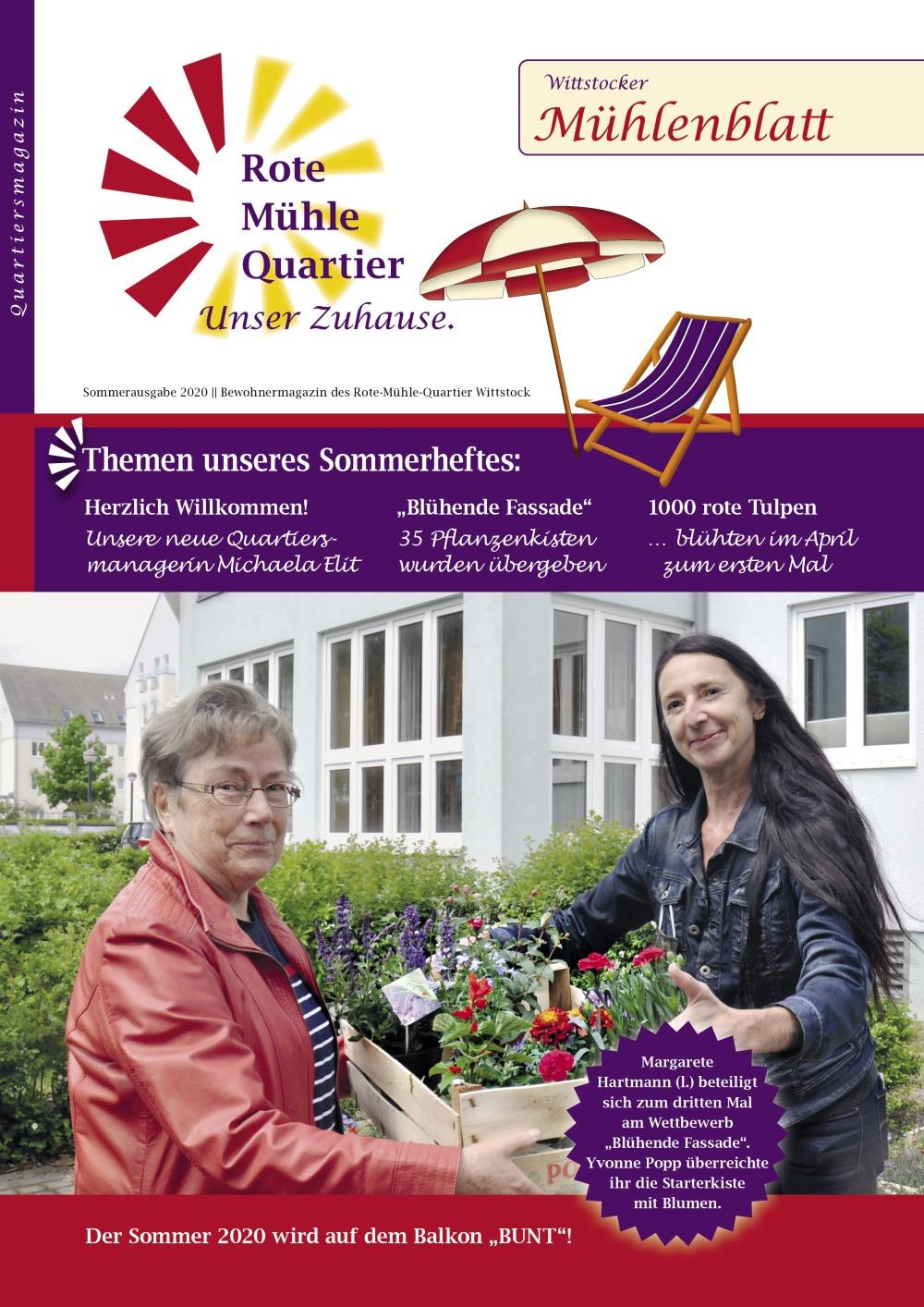 Rote Mühle Quartier Wittstock: Mühlenblatt-Titel der Sommerausgabe 2020
