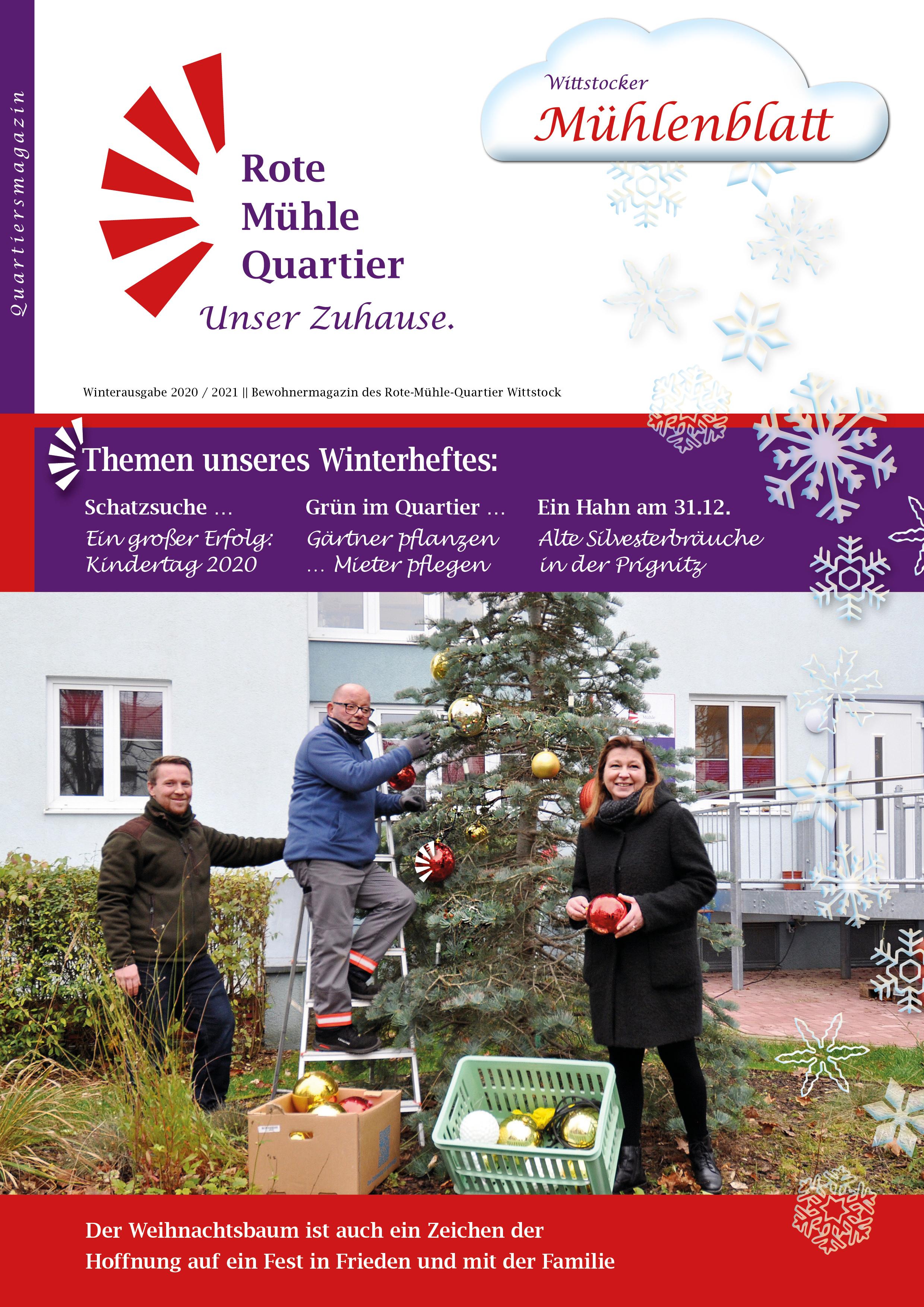 Der Weihnachtsbaum ist auch ein Zeichen der  Hoffnung auf ein Fest in Frieden und mit der Familie Titel 31 Winter 2020-21 Mühlenblatt Wittstock